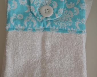Set of Two Handmade Hanging Kitchen Towels, Damask, Geometric, Crochet, Mandala, Kitchen Towels, Hanging Towels, Bathroom Towels