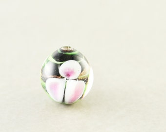 Flower Glass Bead,  Black Pink Bead, 10mm Round, One