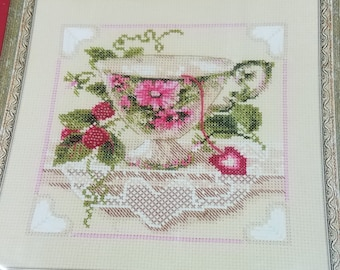 Russian Riolis Raspberry Tea Teacup Counted Cross Stitch Kit 1476
