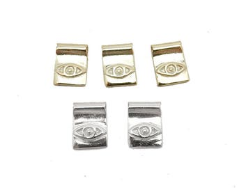 Tiny Greek Eye Rectangle Charm in Gold Over Sterling Silver or Sterling Silver (LA-271-272)