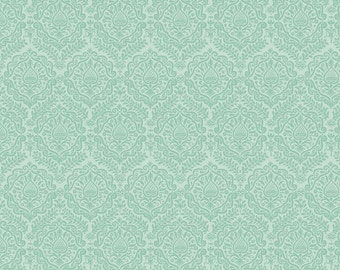 Green Damask/ Mint Damask/ Damask Fabric/ Garden Girl Fabric/ Riley Blake Fabric/ Fabric by the Yard/ Cotton Fabric/ Girl Fabric