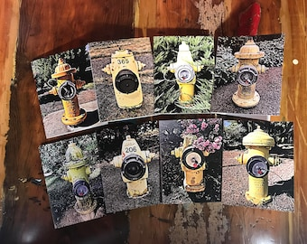 Fire Hydrant Note Cards - 8 Unique Hydrant Cards