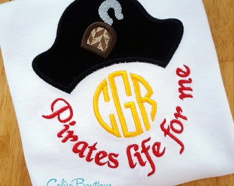 Custom Monogram Pirate Applique Shirt Custom Embroidery