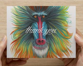"Baboon Greeting Card - Set of 20 5.5x4"" Flat Notecards with Envelopes"