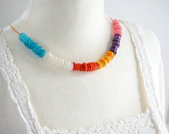 Mothers Day Gift Color Block Necklace Rainbow Necklace Stacked Colorful Button Necklace Eco Friendly String Necklace Statement lgbt jewelry