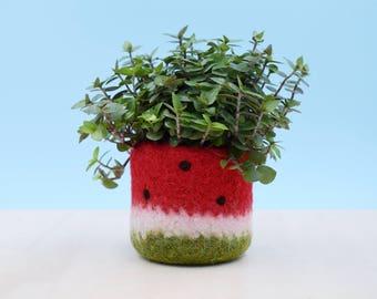Watermelon vase / Felt succulent planter / summer gift / felted planter / cactus vase / housewarming gift / Red watermelon / gift for her