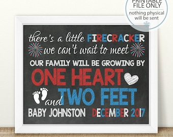 Little Firecracker, PRINTABLE Memorial Day, 4th of July Pregnancy Announcement, Growing By One Heart And Two Feet, Chalkboard Sign