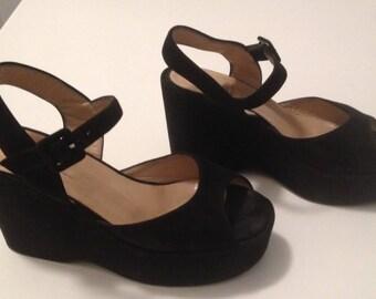 SALE Black Suede Varda Platform Sandals ~ 6 1/2