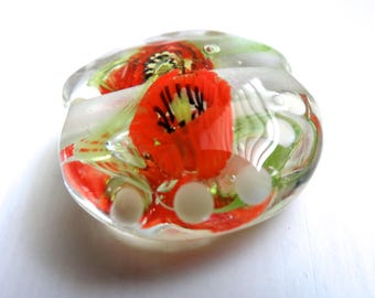 Handmade Lampwork Focal with spacers (Poppies)
