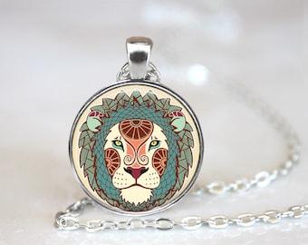 Zodiac Sign Leo Glass Pendant, Photo Glass Necklace, Glass Keychain, Glass Jewelry