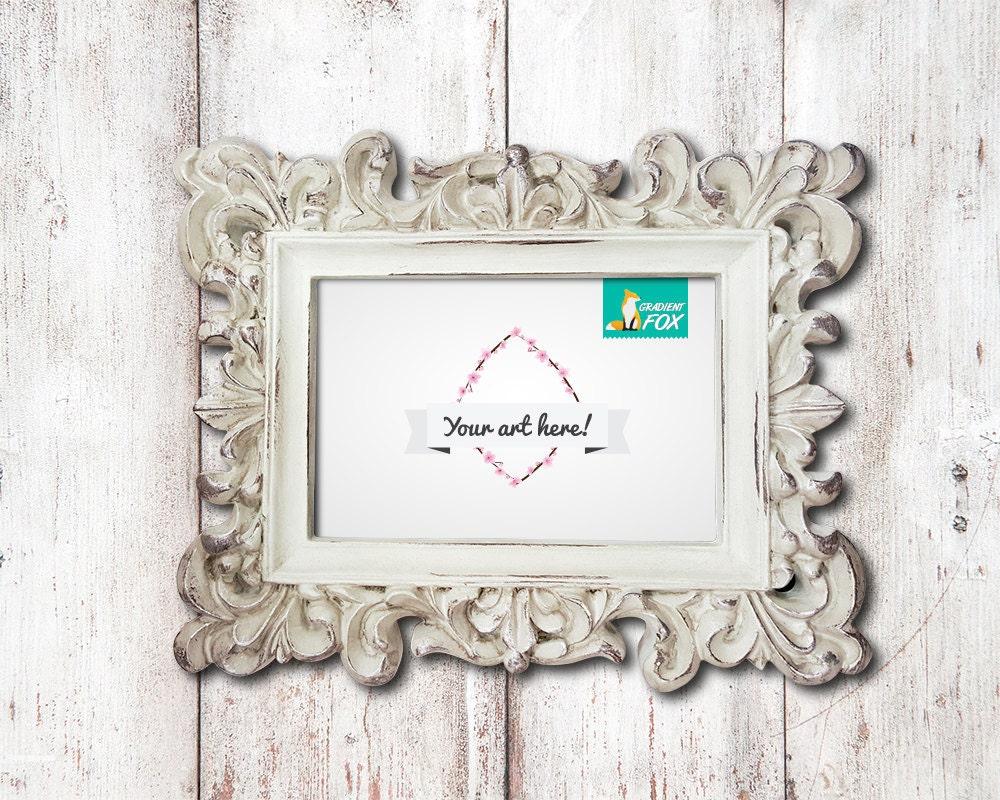 Plantilla de maqueta 4 x 6 marco blanco adornado con fondo de
