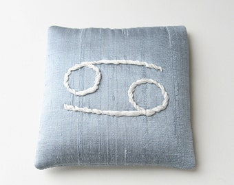 Cancer lavender sachet, zodiac sign sachet, June birthday, July birthday, silk ribbon embroidery, embroidered sachet, silk sachet