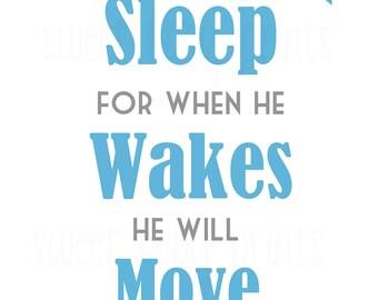 Boy Sleep and Move Mountains Nursery Wall Art