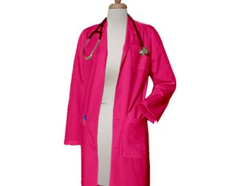 Ready to Ship Hot Pink Color Lab Coat Size Small 40 inches long Doctor Coat Embroidered Lab Coat, Women Lab coat, Pink coat, Discount