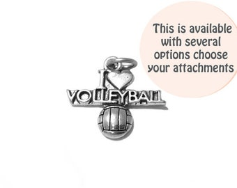 I Love Volleyball Charm Sterling Silver 19.5mm, silver Love Charms, Sterling Silver Charms, sports charms, I Love Volleyball charms - SP526