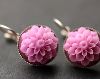 Lilac Purple Dahlia Flower Earrings. French Hook Earrings. Lilac Purple Flower Earrings. Lever Back Earrings. Handmade Jewelry.