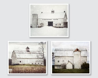 Farmhouse Decor, White Barn Art, Rustic Farm Landscapes Print or Canvas of 3, Country Home Decor, Farmhouse Style, Farmhouse Art Prints.