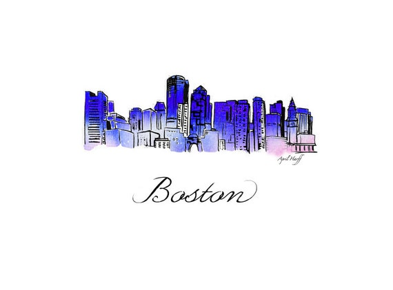 Items similar to Boston Skyline Watercolor Print | Wall Art Boston MA Modern gift Illustration Photo Art Print Sky City Massachusetts Capital Art ...  sc 1 st  Etsy & Items similar to Boston Skyline Watercolor Print | Wall Art Boston ...