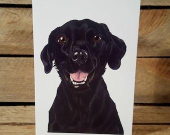 Black Labrador blank greeting card from original pen drawing A6