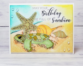 Baby sea turtle birthday digital stamp with two sentiments by Tierra Jackson