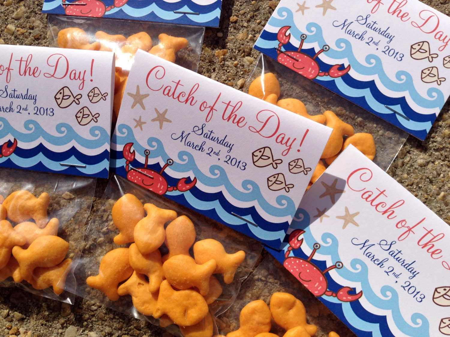 Nautical Themed Catch of the Day Folded Favor Tag