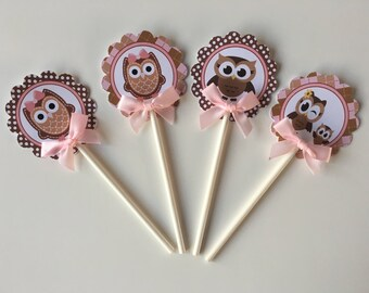 Pink and Brown Owl cupcake  toppers/ Owl cupcake toppers/ Owl baby shower cupcake toppers/ Owl theme/ Owl pink and Brown / Cupcake toppers