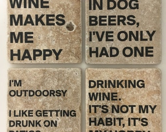 Funny Coasters Drinking Table Coasters Wine Table Coasters Beer Table Coasters Natural Stone Set of 4
