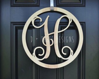 16 Inch Wooden Circle Monogram Letter, Wooden Monogram, Letters, Home Decor, Weddings, Nursery Letters, Ready to be painted!