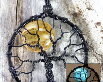 Glow in the Dark Necklace Full Moon Tree of Life Pendant Amber Moon Glowing Jewelry Glow Blue Moon Wire Wrapped Black Light UV Clubwear