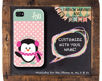 Penguin Polkadot Monogram iPhone Case, Personalized iPhone Case, iPhone 4, 4s, iPhone 5, 5s, iPhone 5c, iPhone 6, 6s, 6 Plus, Phone Cover