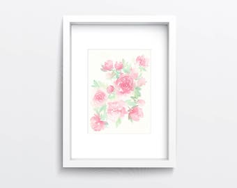 Watercolour Peony Flowers Original Painting, Still life flowers, floral wall decor, gift for women, flower wall art, pink peonies