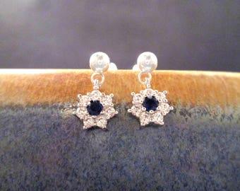 Cubic Zirconia Earrings, White and Sapphire Blue Flower Earrings, Silver Post Earrings, FREE Shipping U.S.