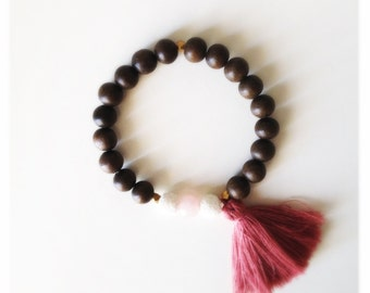 Wood Bead Tassel Bracelet - Blush & Rose Quartz
