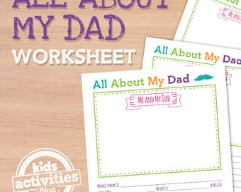 All About My Dad Printable Worksheet for Father's Day