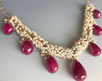 Ruby Pearl Necklace / Genuine Ruby Necklace / Ruby Pearl Gold Necklace / Statement Necklace / Natural Ruby Necklace