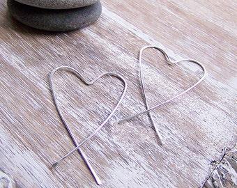 Sterling Silver Heart Hoop Earrings - SIlver Hearts - SIlver Heart Hoops - Hammered Heart Hoops - Large Heart Hoops