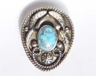Signed JG Mexican Sterling Silver And Turquoise Bolo Slide Pendant