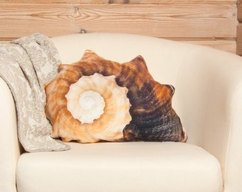 Seashell Pillow – Accent Pillow, Sea decor, Novelty Cushion