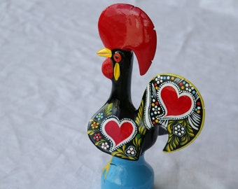 Barcelos rooster - extra large size, Barcelos Hahn, good luck rooster, portuguese rooster, coq de Barcelos, handpainted rooster.