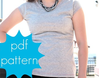 Easy Cap Sleeve Tee - scoop, boat or v neck, Women's PDF Sewing Pattern - xs, s, m, l, xl, xxl