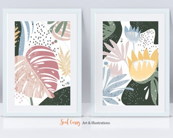 Spring - Set of 2 Art Prints, Tropical Leaf Art, Botanical Art, Tulips Art Print, Abstract Landscape, Wall Art, Pastel Colors, Floral Print