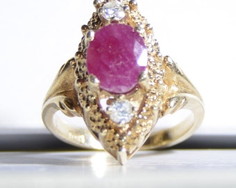 Vintage 14k Yellow Gold, White Diamond and Oval Cut Ruby Ring Size 5.75