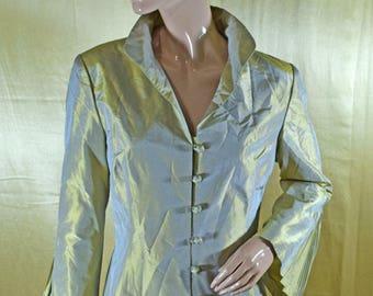 Vintage PAULE VASSEUR 100% SILK women blazer golden Made in France
