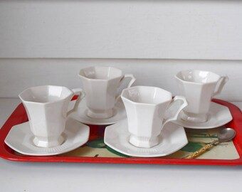 Vintage Expresso Cup Saucer Set White Iron Stone Coffee Cups