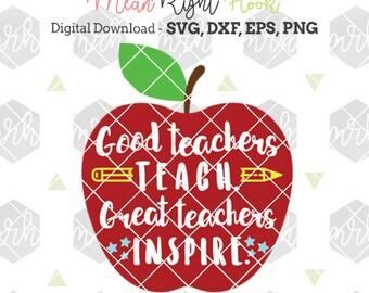 Teacher SVG, Teacher appreciation svg, Teacher Gift svg, apple svg INSTANT DOWNLOAD designs for cutting machines - svg, png, dxf, eps