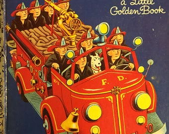 Fire Engine Book a Little Golden Book #382 illustrated by Tibor Gergely Copyright 1950 / 1969 ed. Golden Press Perfect Condition