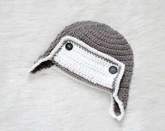 READY TO SHIP 12-24 Months Crochet Aviator Hat, Crochet Earflap Hat
