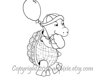 Turtle with balloon birthday digistamp,digi or digital stamp, clip art, coloring page