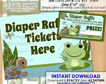 Hippity Frog Baby Shower Diaper Raffle Tickets / frogs turtle lily pad pond friends ticket card pdf isfr-0028/ INSTANT DOWNLOAD