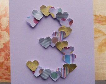 Handmade Heart Number Cards